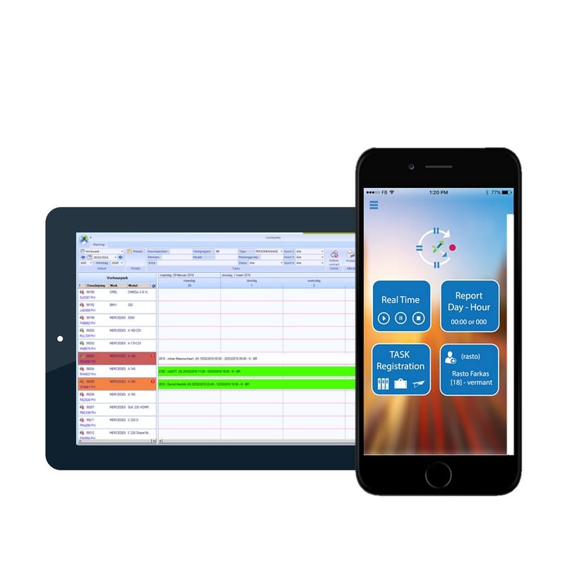 De realtime applicatie die in verbinding staat met de planningsmodule in XDMS voor eenvoudige planning en tijdsregistratie van medewerkers voor een optimaal werkplaatsbeheer